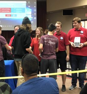 Handing out Awards at VEX Competition as a Judge